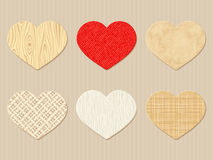 Textured Valentine wooden, rag and paper hearts. Vector eps-10. Royalty Free Stock Photography