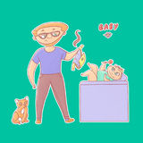 Textured vector funny illustration sticker. Inexperienced dad with glasses and a beard took a stinky diaper from baby and tomcat l Royalty Free Stock Photo