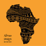 Textured vector map of Africa. Hand-drawn ethno pattern, tribal background. Vector illustration. Abstract colored Background. Textured vector map of Africa. Hand Royalty Free Stock Photos