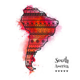 Textured vector map of South America. Hand-drawn ethno pattern, tribal background. Abstract Background with Watercolor Stains, Vec Stock Photos
