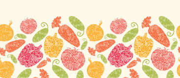 Textured vegetables horizontal seamless pattern vector illustration