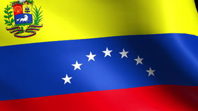 Textured VENEZUELA satin cotton flag with wrinkles and seams stock video footage