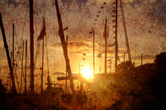 Textured vintage background with silhouette of ships Stock Images