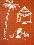 Textured Warli painting. Warli painting on the orange textured wall Royalty Free Stock Photo
