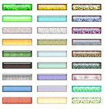 Textured Web Buttons. 3D Web Buttons with transparency and texture Stock Images