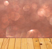 Textured wood planks and warm golden bokeh lights effect Stock Photo