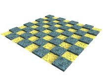 Textured wooden chessboard in yellow and blue Royalty Free Stock Photography