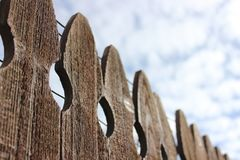 Textured Wooden Fence and Sky royalty free stock photos