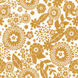 Textured wooden flowers seamless pattern Stock Images
