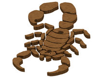 Textured wooden scorpion Royalty Free Stock Photos