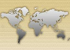 Textured worl map. A metal like world map, in front of a soft texture Stock Image