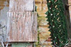 Texturen av det gamla spruckna trät som målas i gräsplan på en bakgrund av en gammal tegelstenvägg royaltyfri fotografi