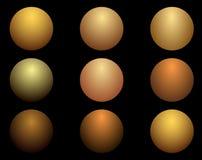 Texturen av metallguldbollarna också vektor för coreldrawillustration vektor illustrationer
