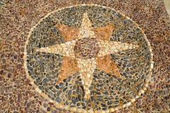Texturen av stenväggen, vägen från liten runda och ovalstenar med gjorde sammandrag linjer av sandiga sömmar för stjärnamodeller royaltyfria bilder