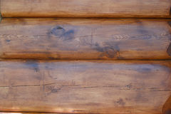 Texturen av väggen av huset göras av runda journaler, dolt med skyddande befruktning close upp Arkivbilder