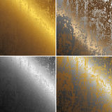 texturer för silver kolonn-för kopparguldmetall rostiga Fotografering för Bildbyråer