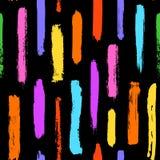 Texturer för slaglängder för målarfärgborste formar färgrika den sömlösa modellen royaltyfri illustrationer