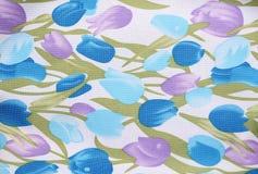 Texturera av blommatyg Royaltyfri Bild