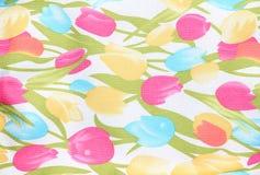Texturera av blommatyg Royaltyfri Fotografi