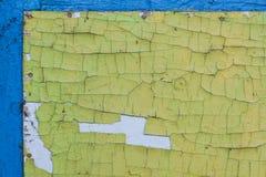 Texturera bakgrund av guling- och blåttmålarfärgväggen för prydnadpapper för bakgrund geometrisk gammal tappning Arkivbild