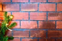 Texturera bakgrund för väggen för röd tegelsten med den prydliga filialen Royaltyfri Fotografi