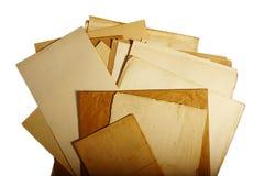 Texturera gammal tappning gulnat papper, handstillegitimationshandlingar Royaltyfria Bilder