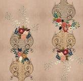 Texturera guld- broderiblommor royaltyfri illustrationer