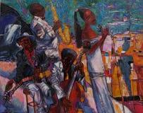 Texturera olje- målning, målning författaren Roman Nogin, en serie av `-jazz `, Royaltyfria Foton