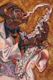 Texturera olje- målning, målning författaren Roman Nogin, en serie av `-jazz `, Royaltyfri Bild