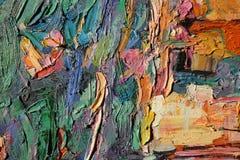 Texturera olje- målning, målning författaren Roman Nogin, en serie av `-jazz `, arkivbild
