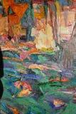 Texturera olje- målning, målning författaren Roman Nogin, en serie av `-jazz `, Royaltyfri Foto