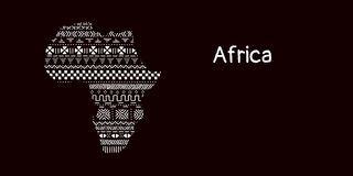 Texturerad Afrika kontinent i den svartvita mudclothprydnaden, vektor stock illustrationer