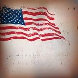 Texturerad bakgrund för amerikanska flaggan tappning. Royaltyfri Bild