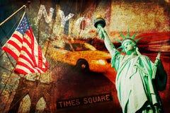 Texturerad collage av symboler från New York City Royaltyfria Bilder