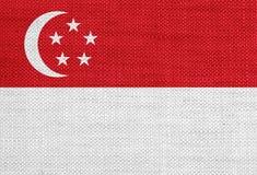 Texturerad flagga av Singapore i trevliga färger Arkivbilder