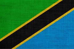 Texturerad flagga av Tanzania i trevliga färger Royaltyfri Bild