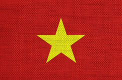 Texturerad flagga av Vietnam i trevliga färger Royaltyfria Foton