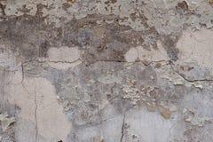 Texturerad knäckt murbruk för bakgrund som vit strilades delvist med en rosa färg, skuggade den spruckna väggen Royaltyfria Bilder