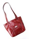 texturerad röd skulder för krokodilhandväskaläder Royaltyfri Bild