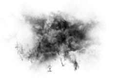 Texturerad rök, abstrakt begreppsvart som isoleras på vit bakgrund Royaltyfri Foto