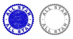 Texturerade ALL STAR skrapade stämplar med bandet stock illustrationer