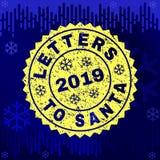 Texturerade BOKSTÄVER TILL SANTA Stamp Seal på vinterbakgrund vektor illustrationer