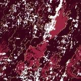 Texturerade burgundy marmorerar bakgrund med färgstänk och guld- remsor vektor illustrationer