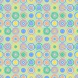 Texturerade den geometriska modellen för den sömlösa vektorn med pastellfärgad ändlös bakgrund för cirklar med den drog handen ge Arkivfoton
