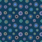 Texturerade den geometriska modellen för den sömlösa vektorn med pastellfärgad ändlös bakgrund för cirklar med den drog handen ge Royaltyfri Bild
