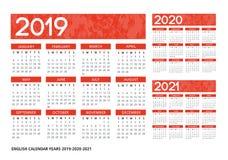 Texturerade engelska calendar mallen för vektor 2019-2020-2021 Royaltyfri Bild
