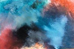 Texturerade modern samtida konst för abstrakt akryl blått arkivfoto
