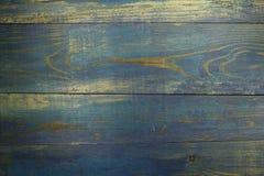 Träbakgrund för gammala blått Arkivfoton