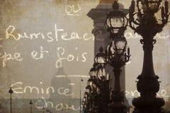 Texturerat konstnärligt föreställer av ett Parisian överbryggar Royaltyfri Bild
