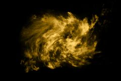 Texturerat moln, abstrakt guld- som isoleras på svart bakgrund Arkivfoton